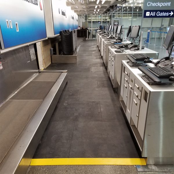 SmartCells anti-fatigue custom flooring is used by many leading airlines to keep employees comfortable and happy.