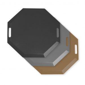 SmartCells black, grey and brown octagonal mat in a top view